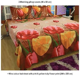 Acetech Ventures Beaitiful 3D HD Tulip Flower Printed Double Bedsheet with 2 Pillow Covers