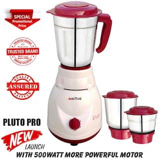Activa PLUTO PRO 500 W Mixer Grinder ( White , 3 Jars )