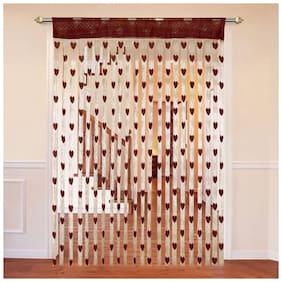 Adhvik Polyester Door Transparent Brown String Curtain ( Rod Pocket Closure , Striped , Pack of 1 )