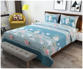 ADIRAV Cotton Floral Queen Size Bedsheet 200 TC ( 1 Bedsheet With 2 Pillow Covers , Multi )