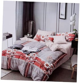 ADIRAV Poly Cotton Floral Double Size Bedsheet 104 TC ( 1 Bedsheet With 2 Pillow Covers , Multi )
