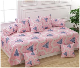 ADIRAV Cotton Floral Double Size Diwan Sets - Pack of 8