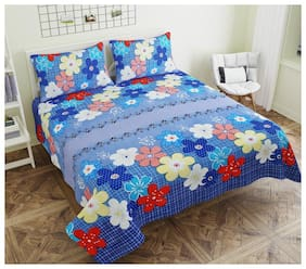 ADIRAV Microfiber 3D Printed Double Size Bedsheet 104 TC ( 1 Bedsheet With 2 Pillow Covers , Blue )