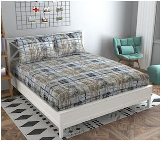 ADIRAV Cotton Checkered King Size Bedsheet 250 TC ( 1 Bedsheet With 2 Pillow Covers , Multi )