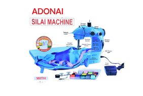 Adonai Mini Desktop Multi Functional Electric Sewing Machine Household Double Stitches Sewing Machine with Tray (Blue)