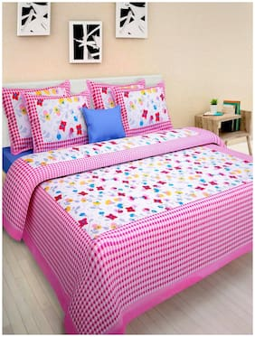 ADYNA HOME Cotton Abstract Double Size Bedsheet Combo ( 1 Bedsheet With 2 Pillow Covers , Multi )