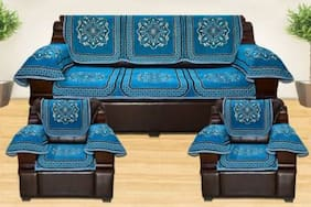 Aerolooks Chenille Sofa Cover Blue with Arm Rest