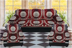 Aerolooks Velvet Sofa Set Covers with Arm Rest Covers 5 Seater  - Maroon