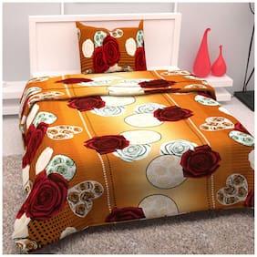 Bedspun Cotton Floral Single Size Bedsheet 104 TC ( 1 Bedsheet With 1 Pillow Covers , Brown )