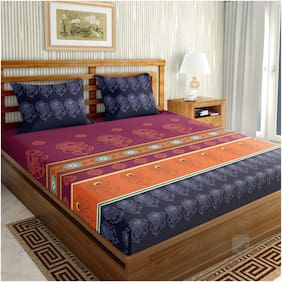 Ahmedabad Cotton Premium 300 TC Sateen Weave with Procion Printed Large King Size Bedsheet with 2 Pillow Covers (100% Color Fastness)