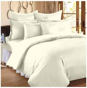 Ahmedabad Cotton Premium Sparkling Satin Striped King Sized Bedsheet With Two Pillow Covers