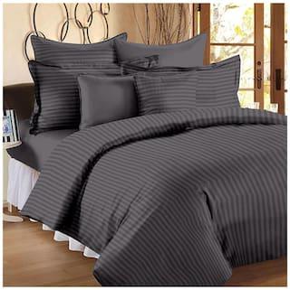 Ahmedabad Cotton Premium Sateen Striped King Size Bedsheet
