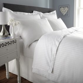 Ahmedabad Cotton Premium Sparkling White Sateen Striped Fitted King Size Bed Sheet