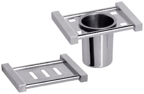 Aiken Stainless Steel Soap Dish And Tumbler Holder Bathroom Accessories Combo of 2 Piece