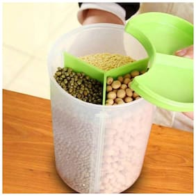 Air Tight Food Container Set, Container Box, Kitchen Container, Plastic Container, Storage Container, Dispenser, Cereal Container, Food Container-3 Section Set Of 1 - 1500 ml