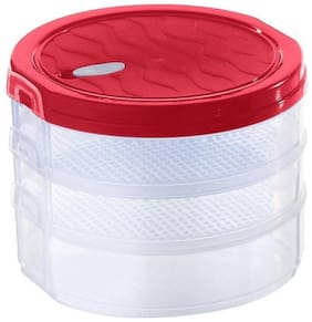 Air-Tight Sprout Maker, 3 Containers - 1000 ml Plastic (Red)