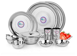 Airan Stainless steel Dinner Sets - Set of 15 , Silver