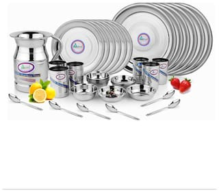 Airan Stainless steel Dinner Sets - Set of 37 , Silver