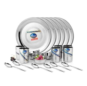 Airan Stainless steel Dinner Sets - Set of 24 , Silver