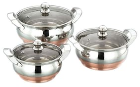 Airan Ultima Collection Copper Bottom With Glass Lid 3 Pcs