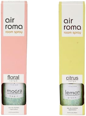 AirRoma Combo of Mogra Magic Fragrance Air Freshener Spray 200 ml & Lemon Grass Fragrance Air Freshener Spray 200 ml