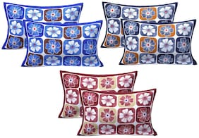 AJ Home Cotton Printed Pillow Covers ( Pack of 6 , Multi )