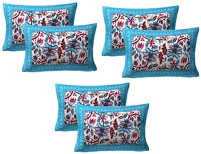 AJ Home Cotton Floral Pillow Covers ( Pack of 6 , Turquoise )