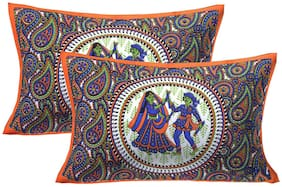 AJ Home Cotton Printed Pillow Covers ( Pack of 2 , Orange )