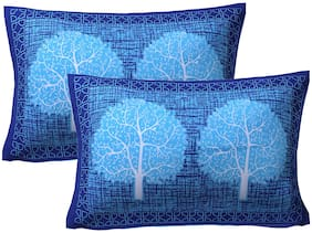 AJ Home Cotton Floral Pillow Covers ( Pack of 2 , Blue )