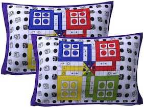 AJ Home 100% Cotton Printed Pillow Cover Set(Pack Of 2)-27x17 inch