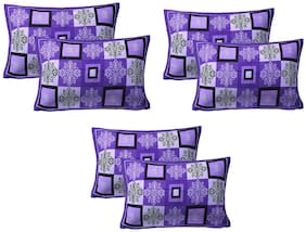 AJ Home Cotton Floral Pillow Covers ( Pack of 6 , Purple )