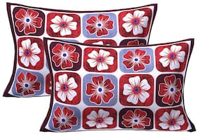 AJ Home Cotton Printed Pillow Covers ( Pack of 2 , Maroon )