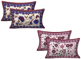 AJ Home Cotton Floral Pillow Covers ( Pack of 4 , Multi )