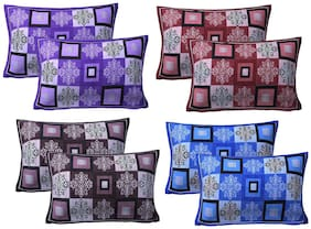 AJ Home Cotton Floral Pillow Covers ( Pack of 8 , Multi )