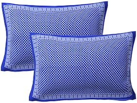 AJ Home Cotton Printed Pillow Covers ( Pack of 2 , Blue )