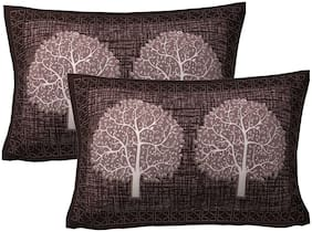 AJ Home Cotton Floral Pillow Covers ( Pack of 2 , Black )