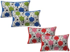 AJ Home Cotton Printed Pillow Covers ( Pack of 4 , Multi )