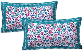 AJ Home Cotton Printed Pillow Covers ( Pack of 2 , Green )