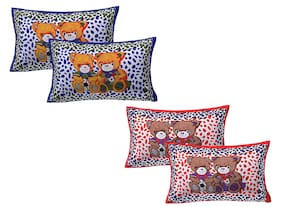 AJ Home Cotton Printed Pillow Covers ( Set Of 4 , Multi )