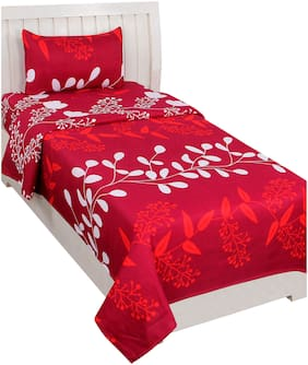Akin Microfiber Floral Single Size Bedsheet 104 TC ( 1 Bedsheet With 1 Pillow Covers , Red )