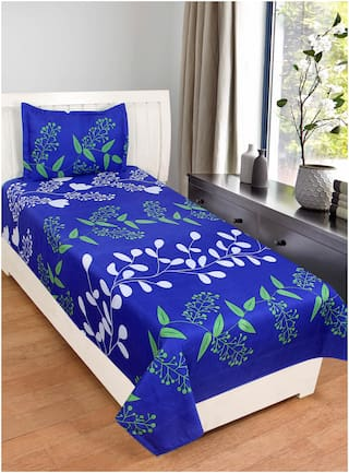 Akin Microfiber Floral Single Size Bedsheet 160 TC ( 1 Bedsheet With 1 Pillow Covers , Blue )