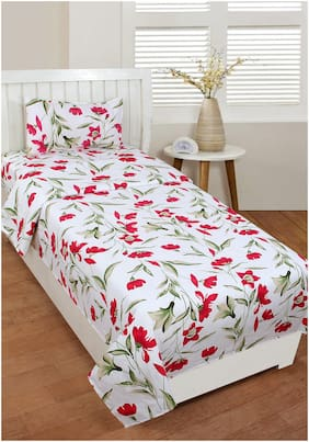 Akin Microfiber Floral Single Size Bedsheet 160 TC ( 1 Bedsheet With 1 Pillow Covers , Red & White )