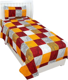 Akin Microfiber Checkered Single Size Bedsheet 104 TC ( 1 Bedsheet With 1 Pillow Covers , Multi )