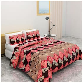 Akin Microfiber Floral Double Size Bedsheet 180 TC ( 1 Bedsheet With 2 Pillow Covers , Multi )