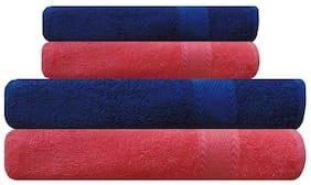 Akin 450 GSM Cotton Bath Towel ( 4 Pieces , Blue )