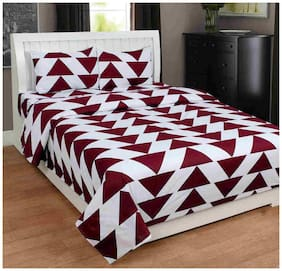 Akin Cotton Geometric Double Size Bedsheet ( 1 Bedsheet With 2 Pillow Covers , Maroon & White )