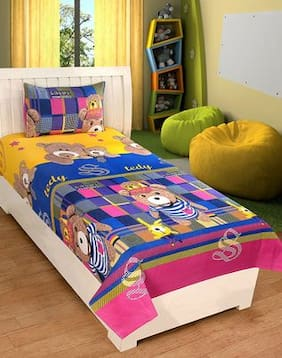 AKIN Premium 100 % Microfibre MultiColor Single Bedsheets with 1 Pillow Cover