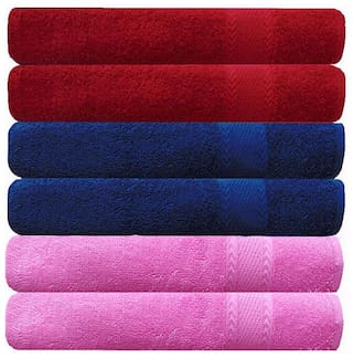AKIN Premium MultiColor Cotton 500 GSM Hand Towels Set Of 6 ( Length=24 inch Width=17 inch )