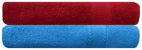 Akin 450 GSM Cotton Bath Towel ( Pack of 2 , Red )