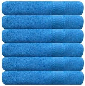 Akin 500 GSM Cotton Bath Towel ( 6 Pieces , Blue )